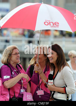 The One Show filming in Weymouth, Dorset, UK Presenter Lucy Siegle with Olympic ambassadors 13th August, 2012 PICTURE: - Stock Photo