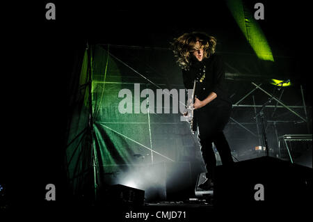 Aug. 15, 2012 - Toronto, Ontario, Canada - CARL BROEMEL of American psychedelic rock band 'My Morning Jacket' performs - Stock Photo