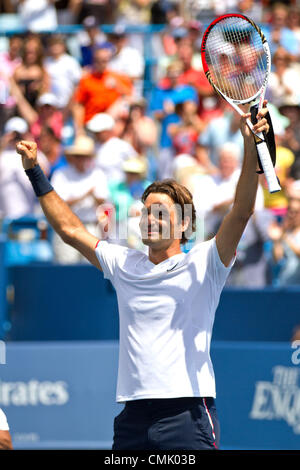 19 August 2012: Roger Federer (SUI) in a match against Novak Djokovic (SRB) during the Men's Singles Finals where - Stock Photo