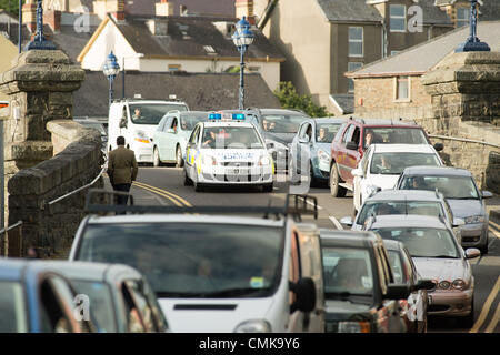 August 22 2012 Rush hour chaos in Aberystwyth as long tailbacks form after a cyclist was struck at around 5pm by - Stock Photo