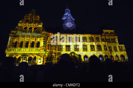 Recklinghausen, Germany. 01st Nov, 2013. The facade of the town hall is illuminated during the Recklinghausen festival - Stock Photo