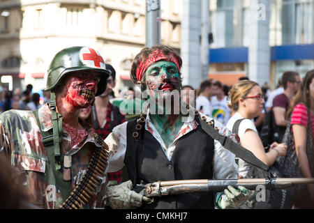 Sao Paulo, Brazil. 2nd Nov, 2013. The zombies are seen during the Sao Paulo Zombie Walk in Central Zone of the city. - Stock Photo