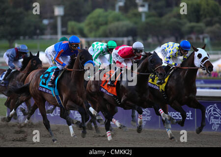 Arcadia, CA, USA. 2nd Nov, 2013. First time around in the Breeder's Cup Classic at Santa Anita Park in Arcadia, - Stock Photo
