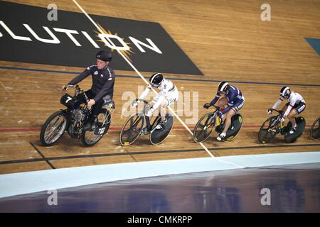 Track Cycling World Cup, National Cycling Centre, Manchester, UK. 3rd November 2013. Becky James (in the rainbow - Stock Photo