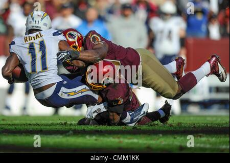 Landover, Maryland, USA. 3rd Nov, 2013. NOV 03, 2013 : Washington defenders tackle San Diego Chargers wide receiver - Stock Photo