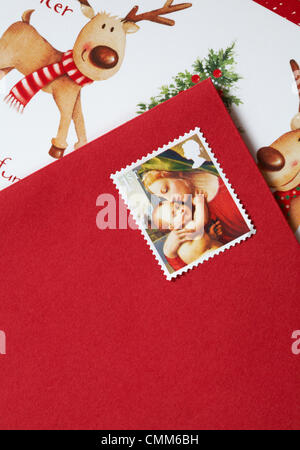 UK 5 November 2013. With only 49 days to Christmas the Christmas stamps are released in the UK. 1st class Christmas - Stock Photo