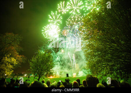 LONDON, UK, 5th November, 2013. London residents and visitors watch a firework display in Brockwell Park, Herne - Stock Photo