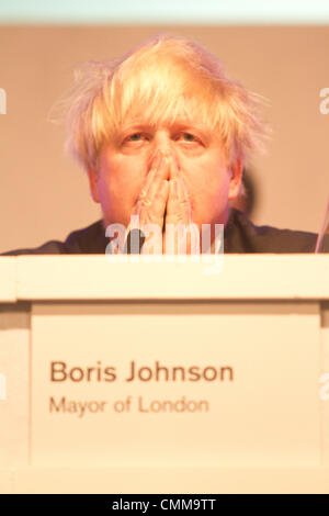 South Kensington London, UK.  London Mayor Boris Johnson attends People's Question time at Imperial college  with - Stock Photo