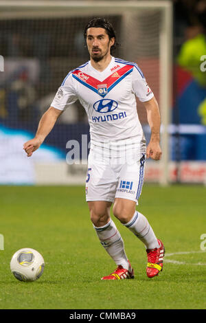 Lyon, France. 2nd Nov, 2013. Milan Bisevac (Lyon) Football / Soccer : French 'Ligue 1' match between Lyon 2-0 EA - Stock Photo