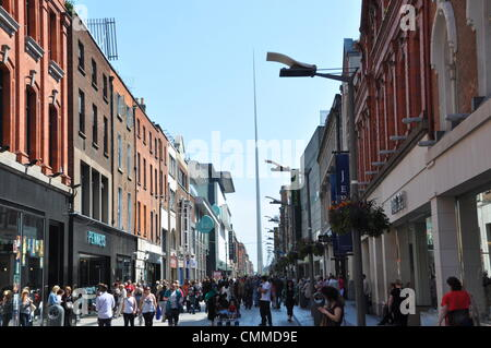 The Millenium Spire, seen from Henry Street, is one of Dublin's landmarks, photo taken June 4, 2013. The Spire of - Stock Photo