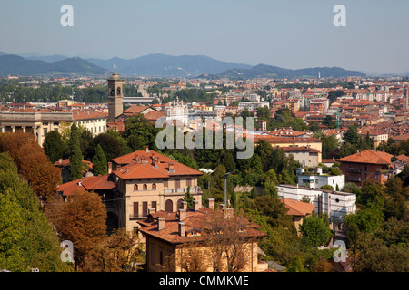 View of Lower Town from Upper Town, Bergamo, Lombardy, Italy, Europe - Stock Photo