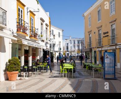 Cafe in Faro Town centre - Stock Photo