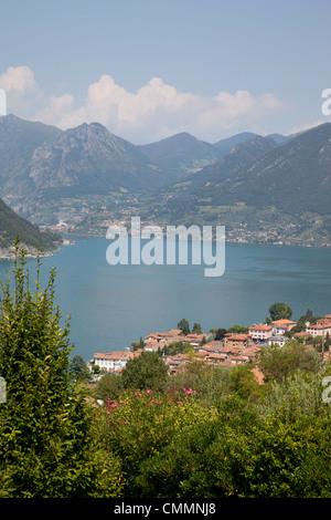 View of Lake Iseo near Sulzano, Lombardy, Italian Lakes, Italy, Europe - Stock Photo