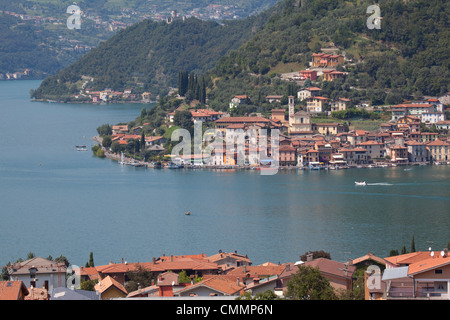 View of Monte Isola from near Sulzano, Lake Iseo, Lombardy, Italian Lakes, Italy, Europe - Stock Photo