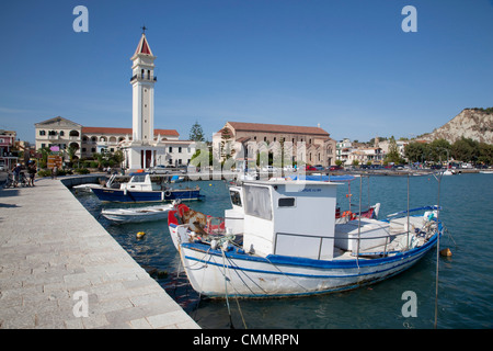 Harbour and boats, Zakynthos Town, Zakynthos, Ionian Islands, Greek Islands, Greece, Europe - Stock Photo