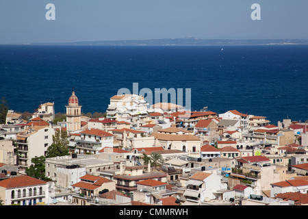 View over town, Zakynthos Town, Zakynthos, Ionian Islands, Greek Islands, Greece, Europe - Stock Photo