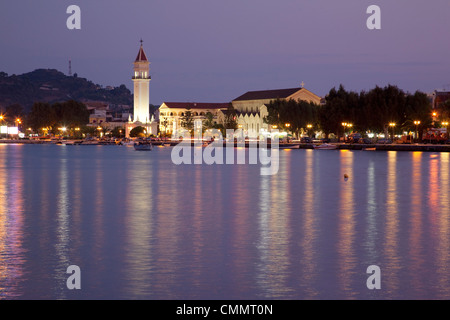 Harbour at dusk, Zakynthos Town, Zakynthos, Ionian Islands, Greek Islands, Greece, Europe - Stock Photo