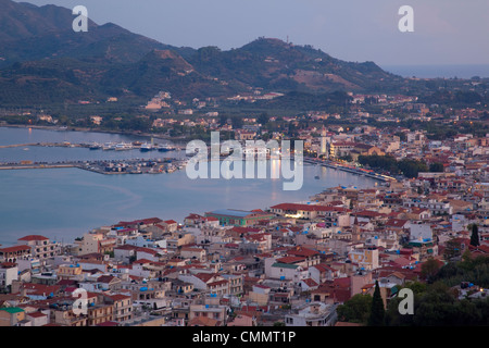View of town from Strani Hill at dusk, Zakynthos Town, Zakynthos, Ionian Islands, Greek Islands, Greece, Europe - Stock Photo