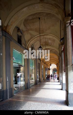 Arcade and shops, Bologna, Emilia-Romagna, Italy, Europe - Stock Photo