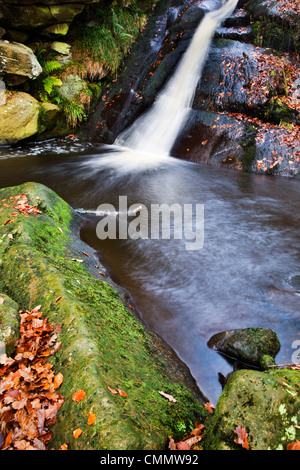 Upper Waterfall at Posforth Gill, Bolton Abbey, Yorkshire, England, United Kingdom, Europe - Stock Photo