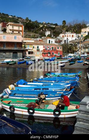 View over fishing harbour, Santa Maria La Scala, Sicily, Italy, Mediterranean, Europe - Stock Photo