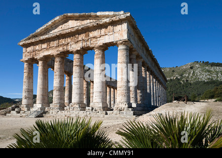 View of the Greek Doric Temple, Segesta, Sicily, Italy, Europe - Stock Photo