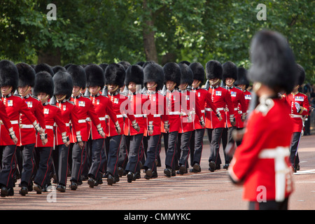 Scots Guards marching along The Mall, Trooping the Colour, London, England, United Kingdom, Europe - Stock Photo