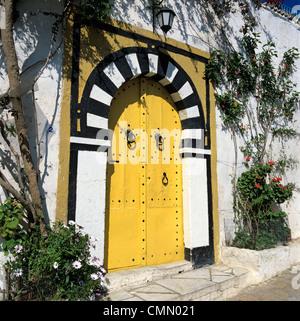 Traditional Tunisian doorway, Sidi Bou Said, Tunisia, North Africa, Africa - Stock Photo