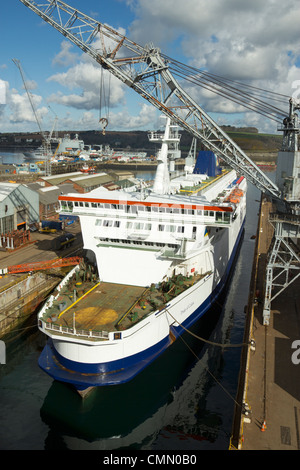 The P&O MS Pride of Calais ferry in a Falmouth dockyard dry dock for an annual refit. - Stock Photo