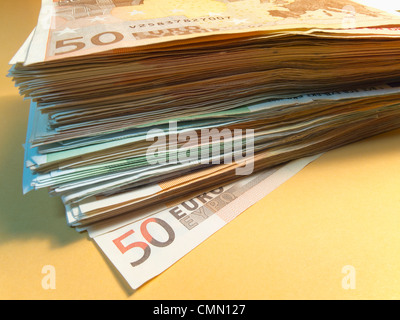 Stack of Euro notes - Stock Photo