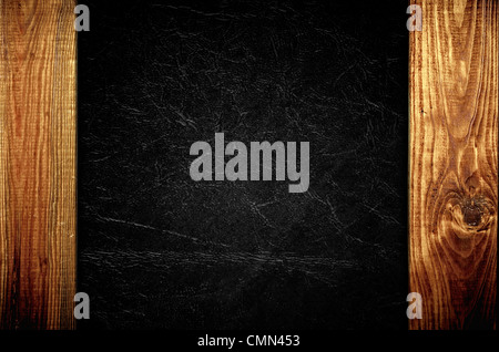 The black leather with wooden panels background texture - Stock Photo