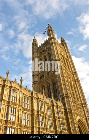 Gothic revival architecture Victoria Tower Houses of Parliament grade 1 listed UNESCO world heritage site London - Stock Photo