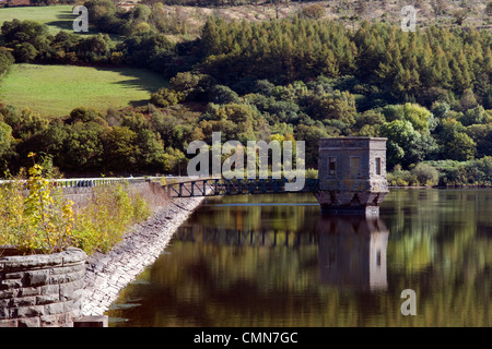 Talybont reservoir, dam and water tower with reflection at Brecon Beacons in Wales taken on beautiful bright sunny - Stock Photo