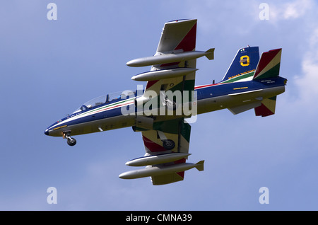 Aermacchi MB-339 operated by the Frecce Tricolori on final approach for landing at RAF Fairford - Stock Photo