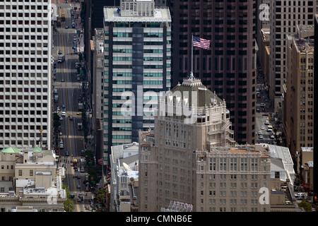 aerial photograph Mark Hopkins hotel, 555 California Street skyscrapers San Francisco - Stock Photo