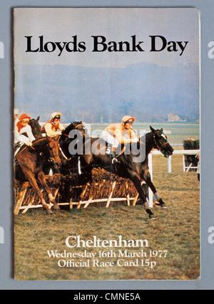 Cheltenham Festival race card 1977 - Stock Photo