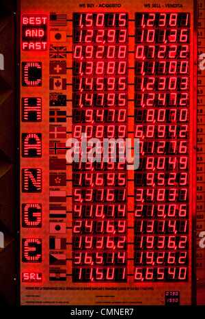 Electronic board in currency exchange shop, Florence, Italy - Stock Photo
