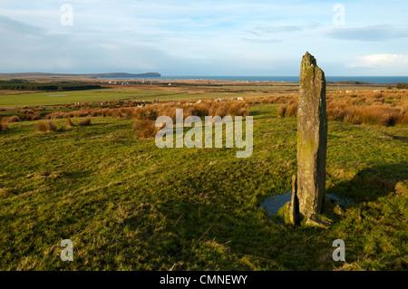 Dunnet Head from a standing stone on the Hill of Rigifa', near Mey, Thurso, Caithness, Scotland, UK - Stock Photo