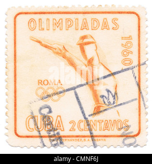 Cuban postage stamp commemorating the 1960 Summer Olympics, officially known as the Games of the XVII (17th) Olympiad, - Stock Photo