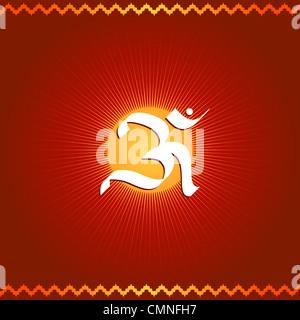 Indian divine OM symbol on sun - Stock Photo