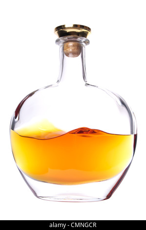 Cognac bottle without labels on the white background. - Stock Photo
