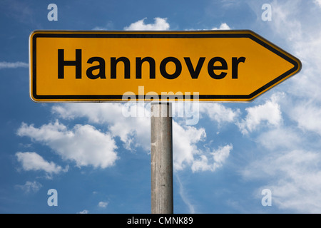 Detail photo of a signpost with the inscription Hanover, Lower Saxony, Germany, Europe - Stock Photo