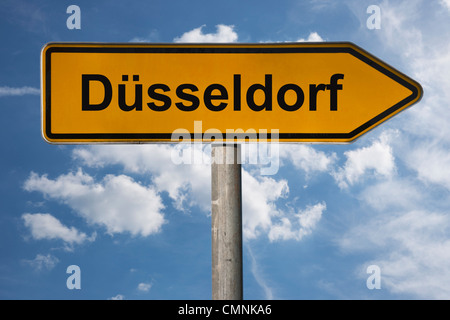 Detail photo of a signpost with the inscription Duesseldorf, North Rhine-Westphalia, Germany, Europe - Stock Photo