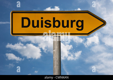 Detail photo of a signpost with the inscription Duisburg, North Rhine-Westphalia, Germany, Europe Stock Photo