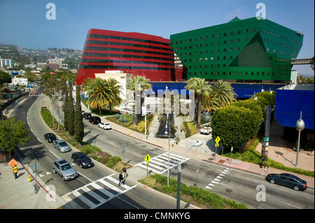 View of Pacific Design Center and Hollywood Hills from West Hollywood Public Library - Stock Photo