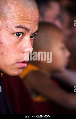 Tibetan Buddhist monk during a ceremony at the monastery at Namdroling near Kushalnagar, Karnataka, India. - Stock Photo