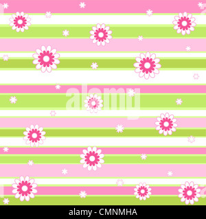 Flowers and stripes pattern in pink, white and green - Stock Photo