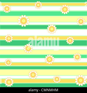 Flowers and stripes pattern in white yellow and green - Stock Photo
