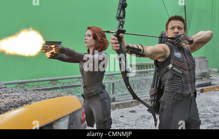 AVENGERS ASSEMBLE 2012 Marvel/Paramount film with Scarlett Johansson and Jeremy Renner - Stock Photo