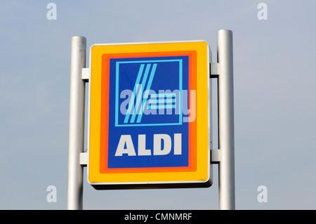 Aldi Supermarket Sign, Cambridge, England, UK